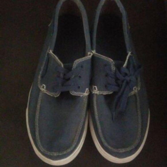 Authentic Sanuk Blue Jean Material Lace-Up Shoes